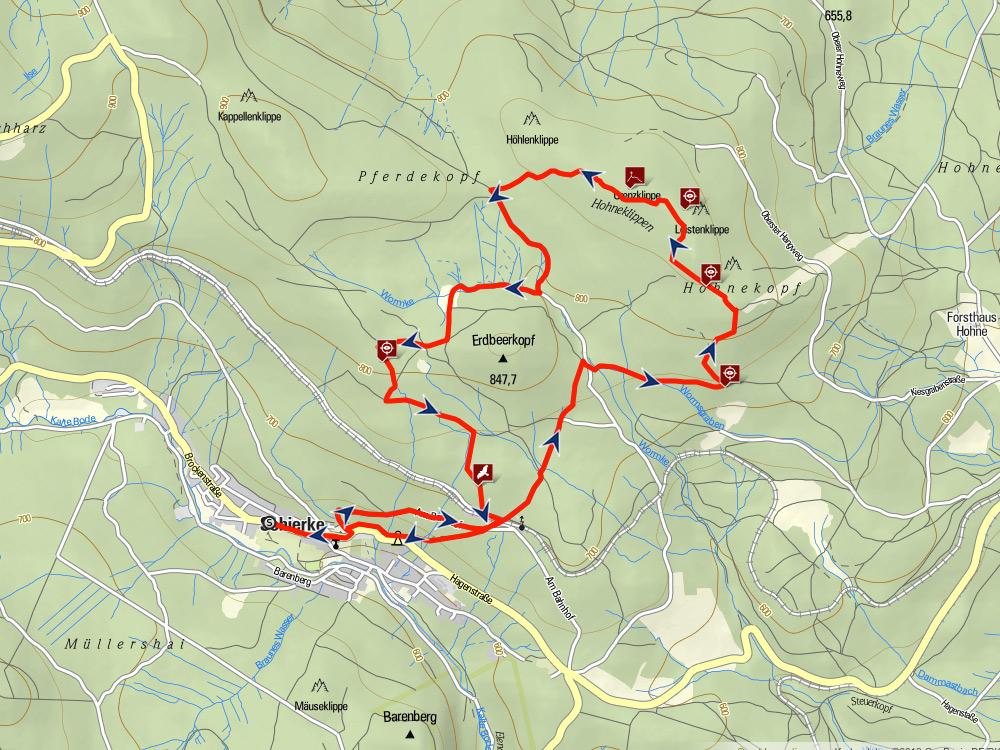 Karte Oberharzer Klippenweg