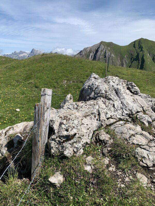 Über diesen Felsbrocken gelangt man auf die andere Seite des Zauns und somit zum Gipfel.